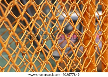 Steel grating of fence - stock photo