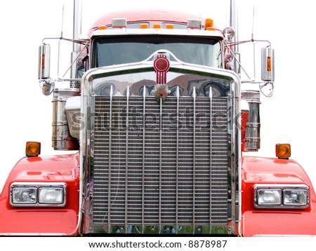 steel grill of red truck isolated on the white background - stock photo