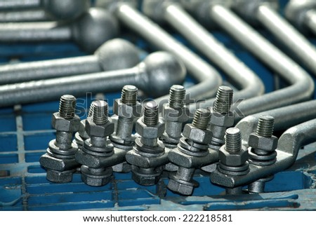 Steel hardware for fitting electric cable with steel tower - stock photo