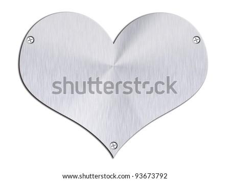 Steel heart shape on plain background - stock photo