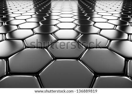 Steel hexagons flooring metal surface perspective view shiny abstract industrial background - stock photo