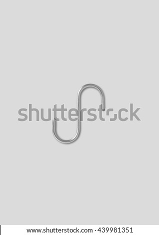 Steel Hook used to hang beefs and kitchen stuff - stock photo