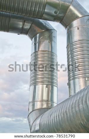 steel industrial pipeline on factory - stock photo