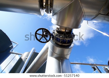 steel industrial pipes - stock photo
