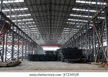 steel ingot in enterprise warehouse workshop in China - stock photo
