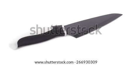 Steel kitchen knife with the black and white handle isolated over the white background - stock photo