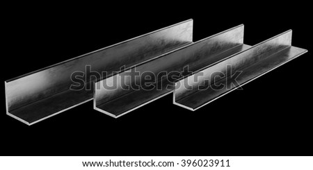 Steel L-Profile. Illustration isolated on black background. - stock photo