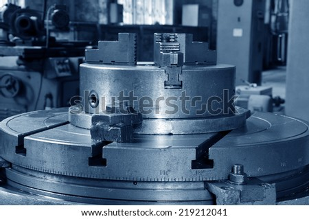 Steel lathe machinery and equipment  - stock photo