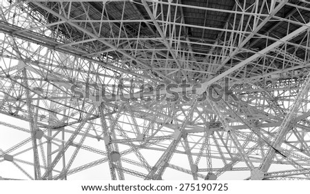 Steel lattice work on radio telescope - stock photo