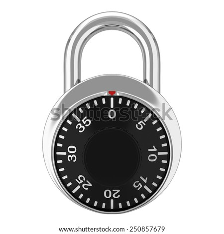Steel lock. 3d illustration isolated on white background