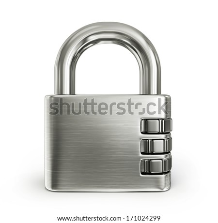 steel lock isolated on a white background - stock photo