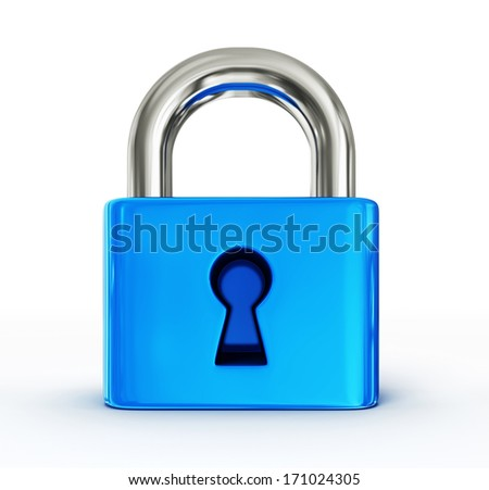 steel lock isolated on a white background