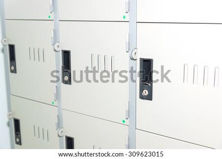 Steel lockers in the room - stock photo