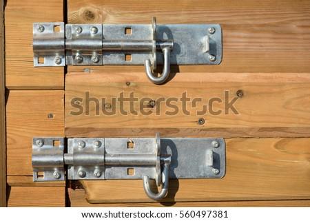Metal Latch On Wooden Door Garden Stock Photo 17984341