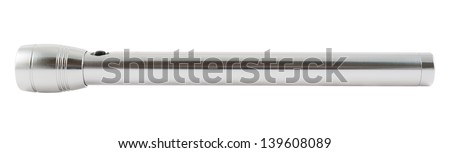 Steel long LED flashlight isolated over white background