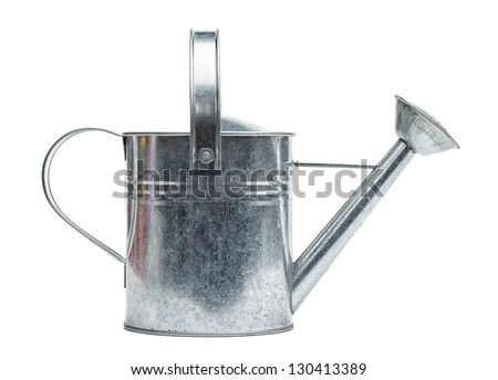 Steel made, silver colored watering can, isolated on white background. - stock photo