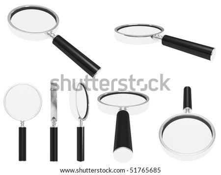 steel magnifying glass isolated on a white - stock photo