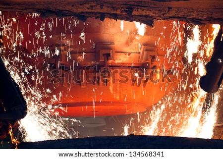 Steel making scenes - steel furnace - stock photo