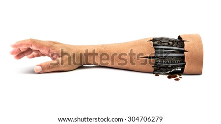 Steel mechanical inside human hand isolated on white background with clipping path for concept of cybernetic robot hand technology in the future time be rotten - stock photo