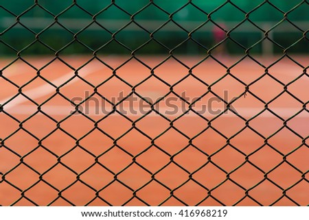 steel mesh at tennis court