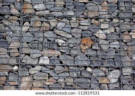 Steel mesh of gabion wall - stock photo