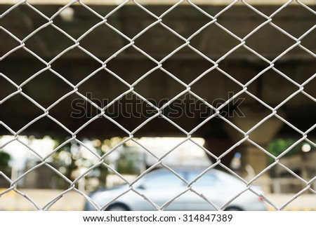 Steel mesh wall on the freeway
