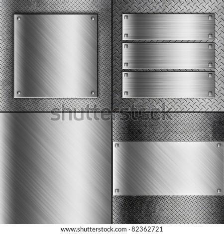 steel metal plate backgrounds set - stock photo