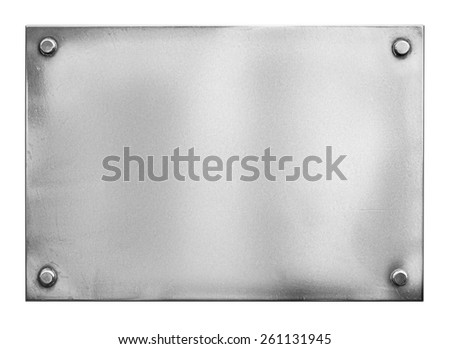 steel metal plate or signboard with rivets isolated