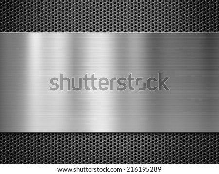 steel metal plate over grate background - stock photo