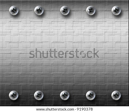 steel metal plate with bolts - stock photo