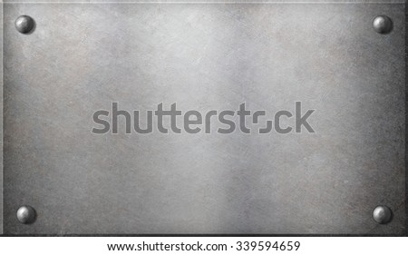 steel metal plate with rivets - stock photo