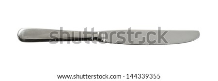 Steel metal table knife isolated over white background - stock photo