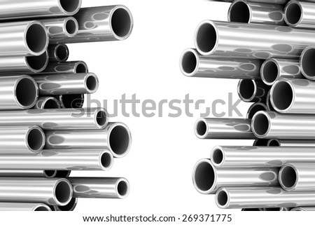 Steel Metal Tubes isolated on white background with place for Your text - stock photo