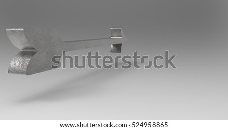 Steel Metallic 3D Illustration Of An Arrow On A Light Masked Transparent Background