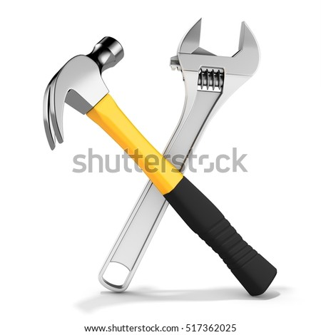 Steel nail hammer with variable wrench  on white background 3D illustration