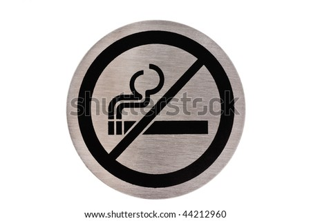 Steel non smoking sign isolated on white.