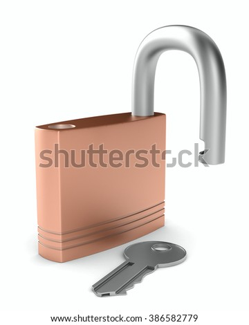steel open lock on white background. Isolated 3D image - stock photo