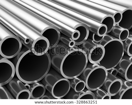 Steel or aluminum pipes. Heap of round metal tubes. - stock photo