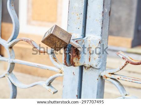 Steel Padlock - stock photo