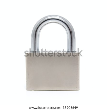 Steel padlock on a white background. Close-up. Macro