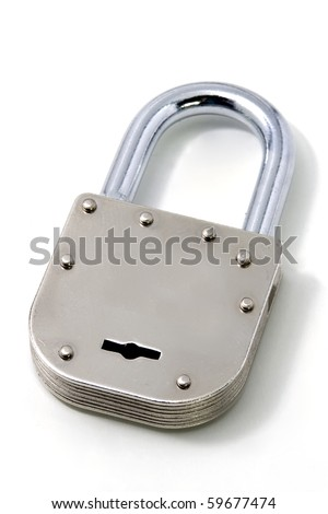 steel padlock over white background