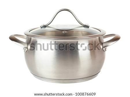 Steel pan with glass lid isolated on white background