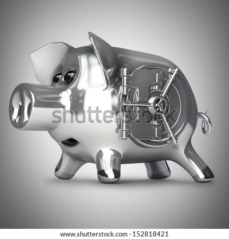 steel Piggy bank with vault door. High resolution 3d render  - stock photo
