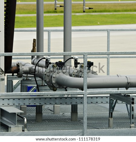 Steel pipelines for an air conditioning (AC) device - stock photo