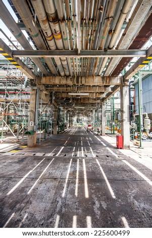 Steel pipelines zone - stock photo