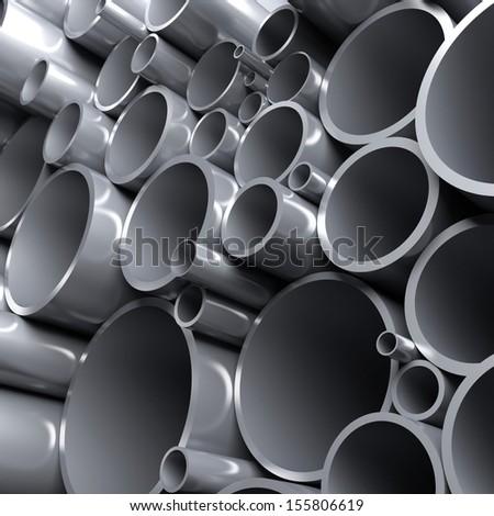 Steel pipes. 3d render illustration - stock photo