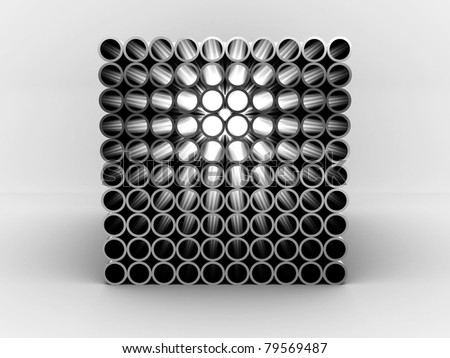 Steel pipes isolated on white background. 3D - stock photo