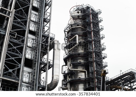 Steel pipes of oil and gas plant - stock photo