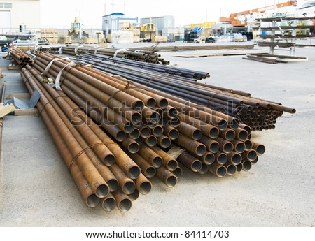 steel pipes on stock - stock photo