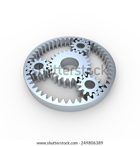 Steel planetary gears on a white background - stock photo
